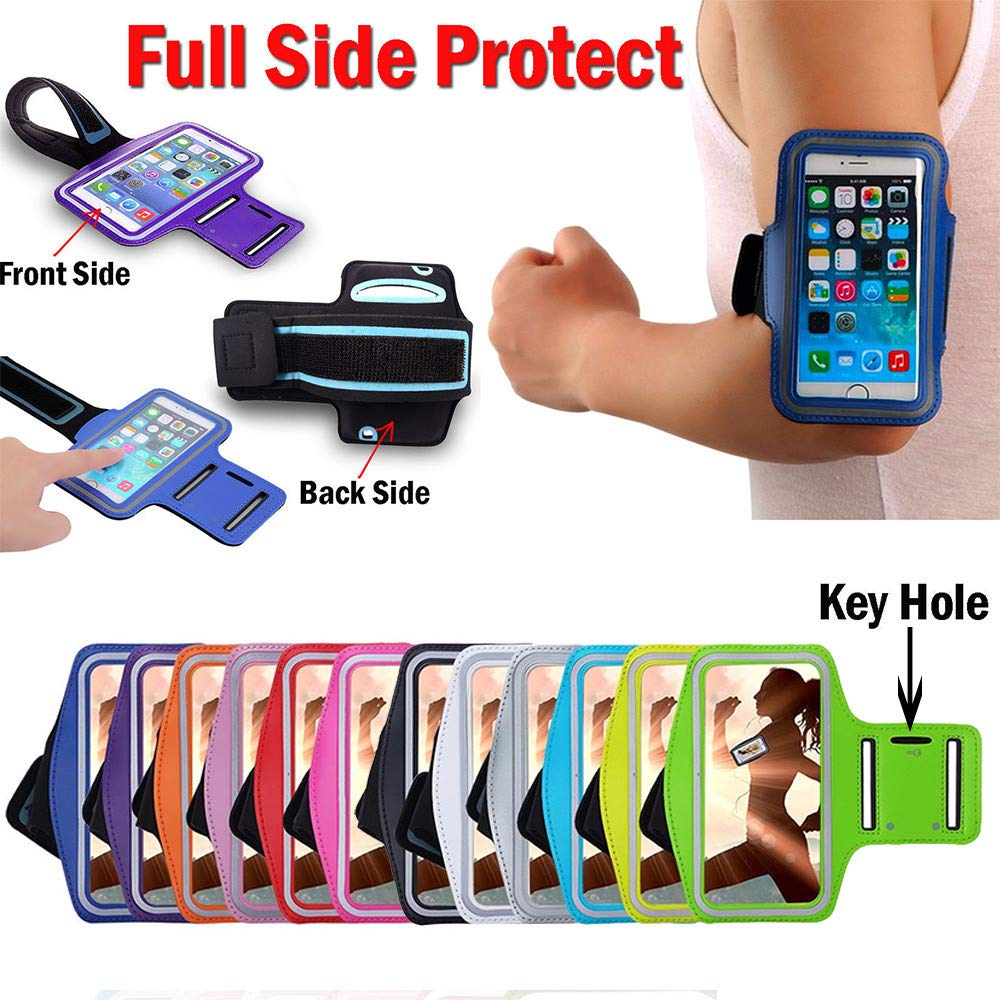 SUKEQ Cell Phone Armband for iPhone XR/XS Max 6.5Inch, Universal Armband Sport Phone Arm Case Holder for Jogging Gym Workout Exercise, Water Resistant, Sweatproof (Hot Pink) by SUKEQ (Image #2)