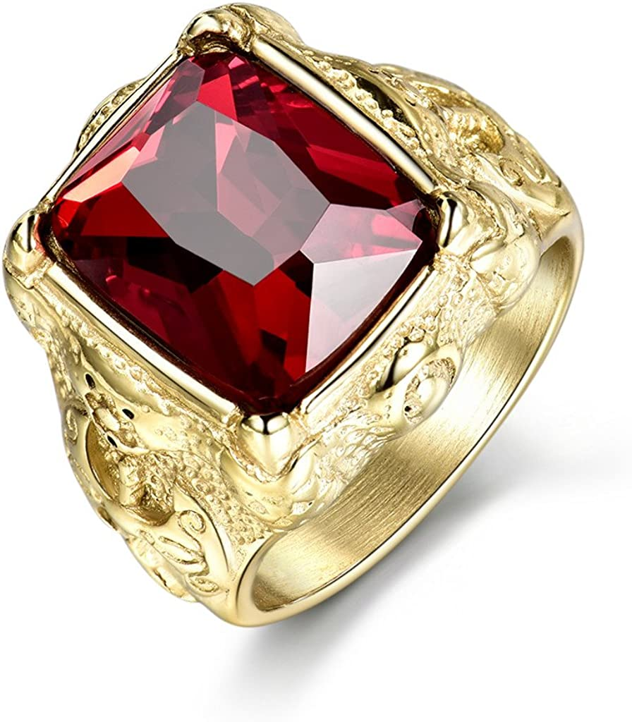 MASOP Luxury Gold Tone Engraved Mens Stainless Steel Rings with Red Ruby Garnet Color Stone Size 8-12