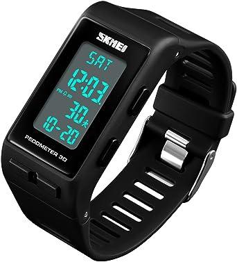 Reloj de Pulsera Digital con podómetro y calorías para Hombre y ...