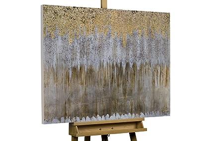 KunstLoft® cuadro acrílico Oro y Plata 100x75cm | Original pintura XXL pintado a. Pasa ...