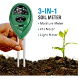 MoonCity 3-in-1 Soil Tester Moisture Meter, Light and PH acidity Tester, Plant Soil Tester Kit, Great For Garden, Farm, Lawn, Indoor & Outdoor (No Battery needed)