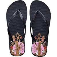 SEASHELL Women Fashion Thongs Sandals Flip Flops Floral Beach Slipper Shoes