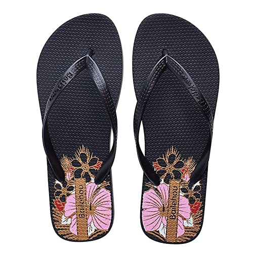 48097e9f1 SEASHELL Women Fashion Thongs Sandals Flip Flops Floral Beach Slipper Shoes