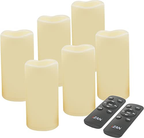 iZAN Set of 6 Outdoor Flameless Battery Operated LED Pillar Candles with Remote Timer Waterproof Flickering Electric Decorative Lights for Christmas Home Wedding Party Festival Decorations 3 x6