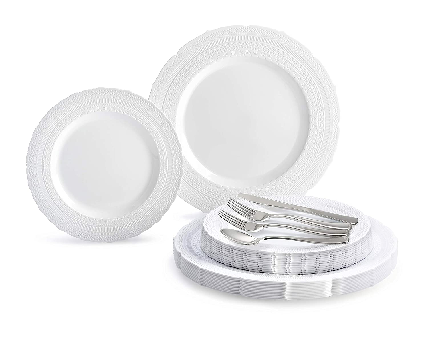 E. Chateau in White 150 Piece (25 Guest) OCCASIONS 720 PCS   120 GUEST Wedding Disposable Plastic Plate and Silverware Combo Set (Diamond White Silver Plates, Silver Silverware)