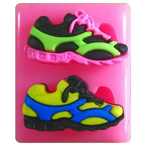 Par de zapatillas / zapatillas de deporte Molde de silicona para la torta de Decoración Pastel