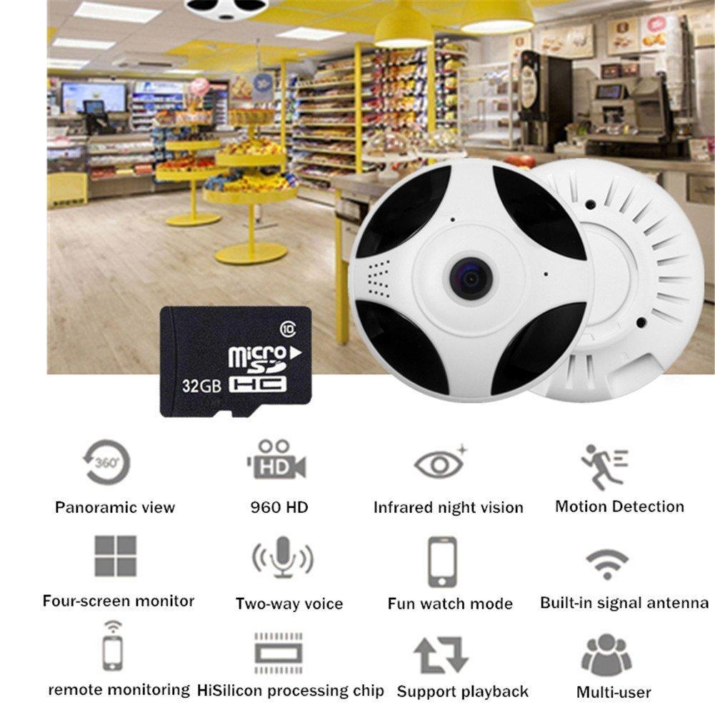 UGI 960P 360¡ã Panoramic Fisheye Ceiling Wireless IP Camera Two Way Audio With 32G Memory Card by UGI