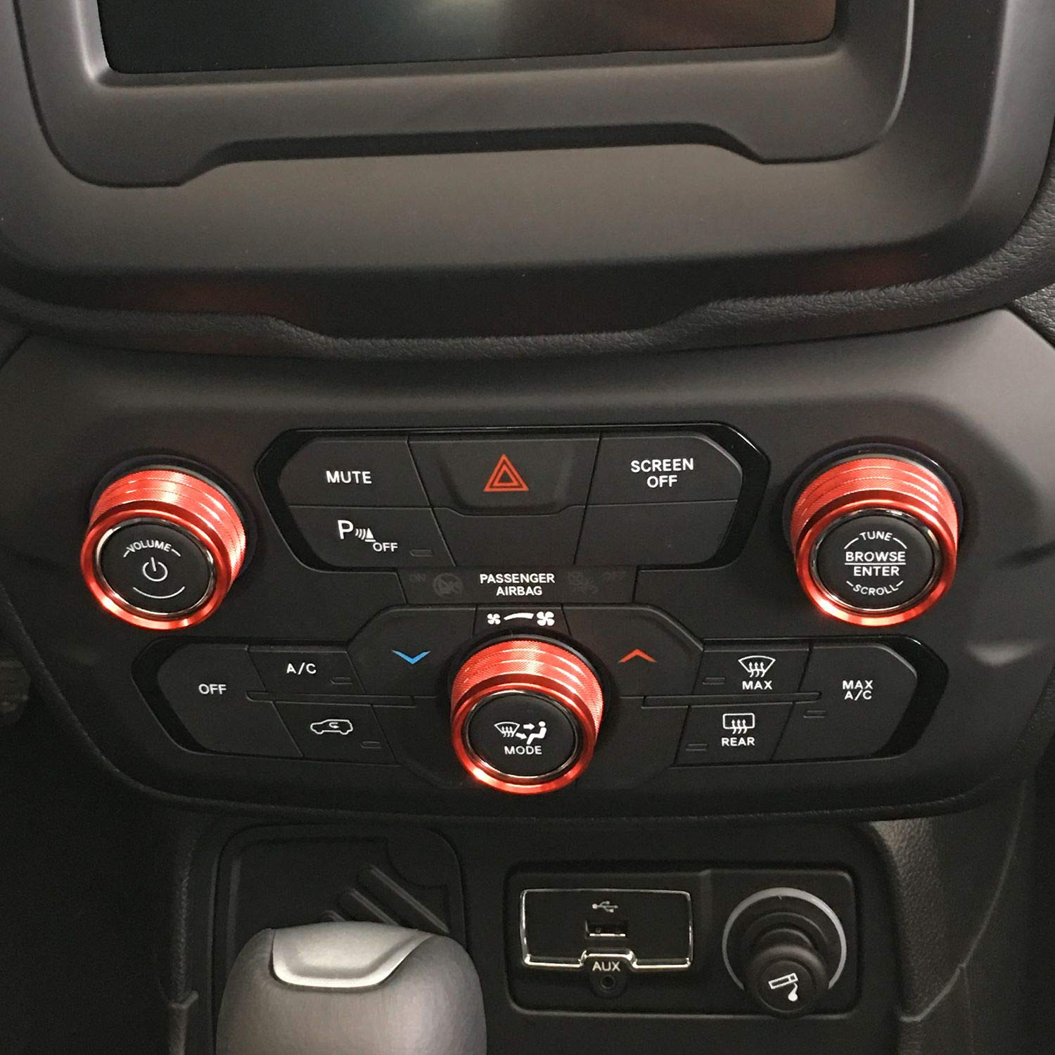Red JeCar Air Conditioner Switch Knob Cover Aluminum Alloy Audio Trim Cover for 2018-2019 Jeep Renegade