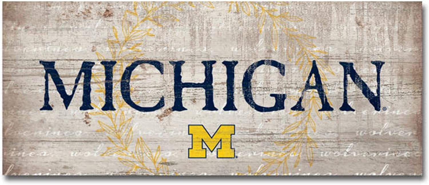 NCAA Legacy Michigan Wolverines Mini Table Top Stick 2.5x6 Wood One Size