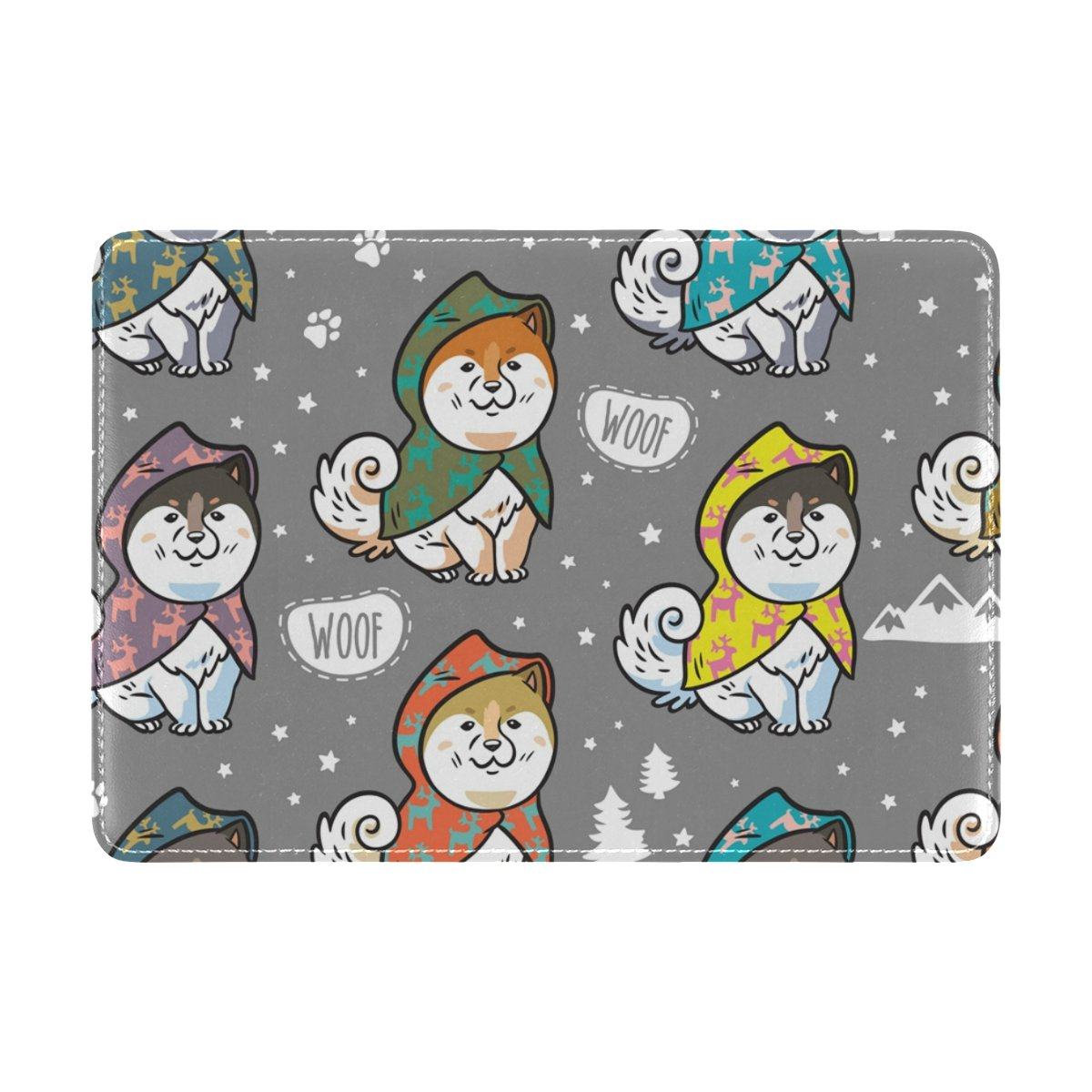 My Daily Husky Puppies Colorful Raincoats Leather Passport Holder Cover Case Protector