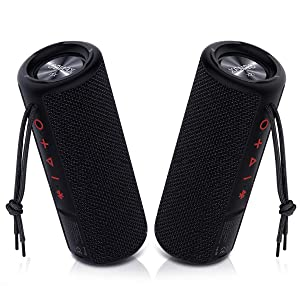 Xeneo X21 Dual Portable Bluethooth Speakers Waterproof Outdoor Wireless Stereo Pairing with TWS, FM Radio, Micro SD Card, IPX6, 30W for Home, Office, Party and Travel (Pack 2 Black)