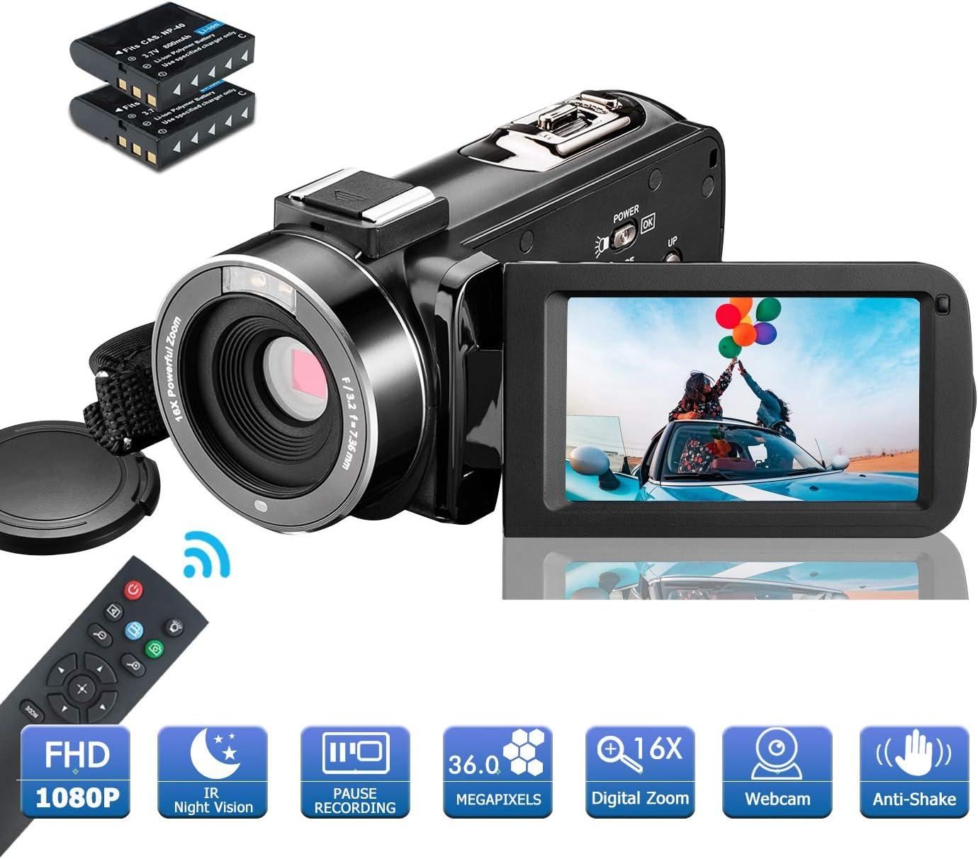 MELCAM Videocámara 1080P 36MP Camcorder IR Visión Nocturna Youtube Vlog Cámara Web 3.0