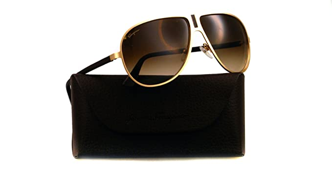 ff091e2a89 Image Unavailable. Image not available for. Colour  Salvatore Ferragamo SF  103SL 719 Brushed Gold Modified Aviators