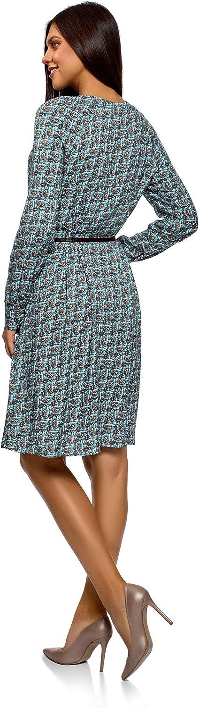 oodji Collection Damen Viskose-Kleid mit G/ürtel