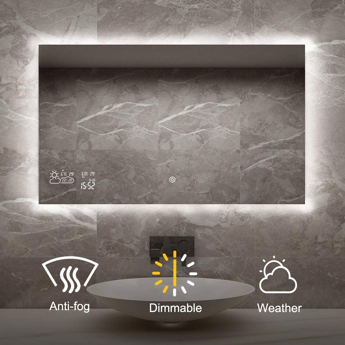 BYECOLD Smart Bathroom Mirror with Dimmable LED Light Touch Switch Demister Weather Forecast Makeup Vanityl Wall Mounted Mirror- 39.4 x 23.6