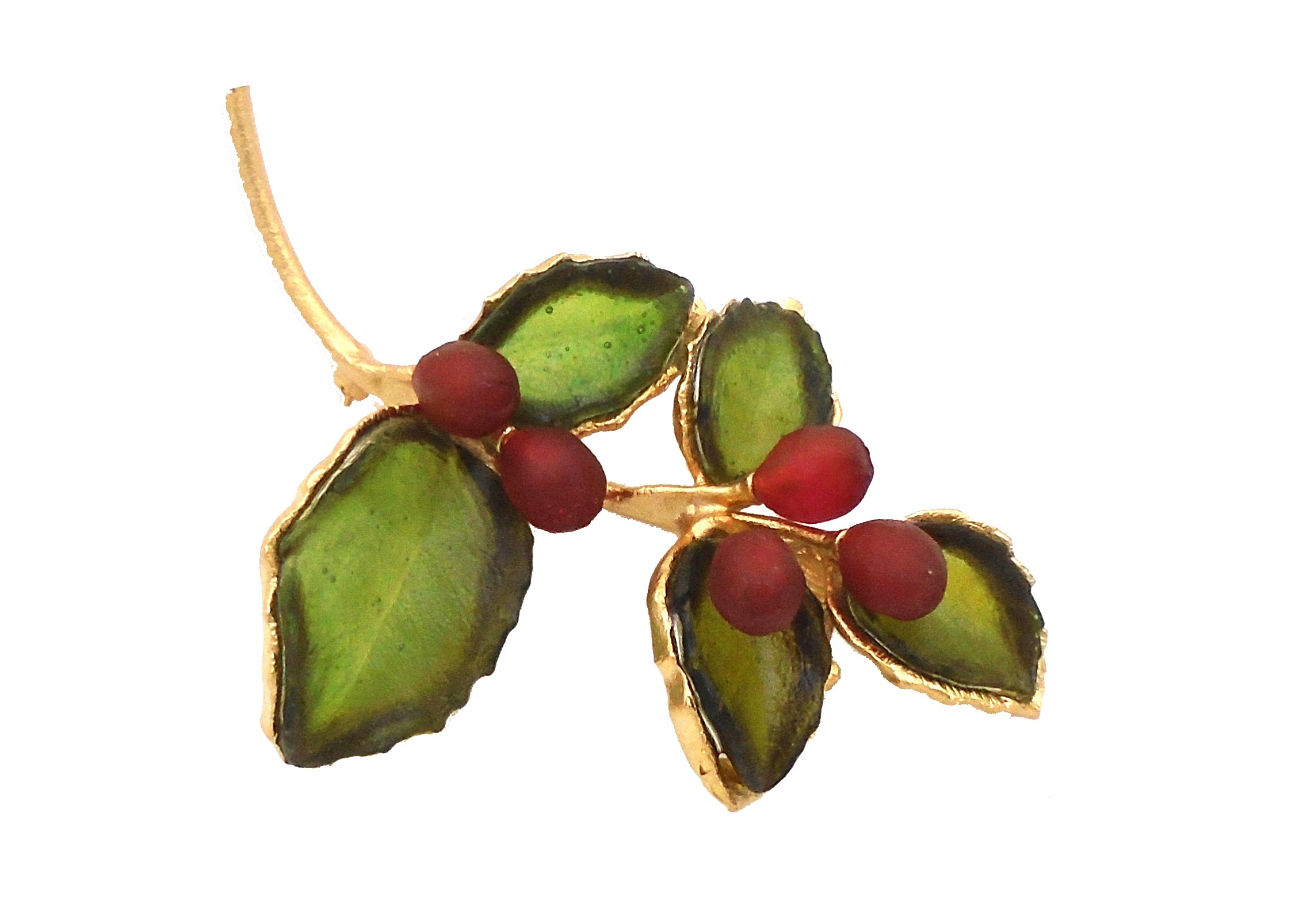 Michael Vincent Michaud- Glass ''Holly Pin/Brooch'' in Green/ Red