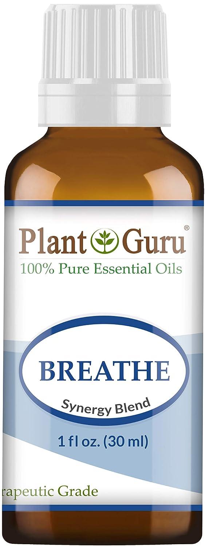Breathe Synergy Blend Essential Oil. 30 ml. (1 oz) 100% Pure, Undiluted, Therapeutic Grade. (Eucalyptus, Peppermint, Tea Tree, Lemon, Lavender, Cardamom, Bay) by Plant Guru B0125KI4BY