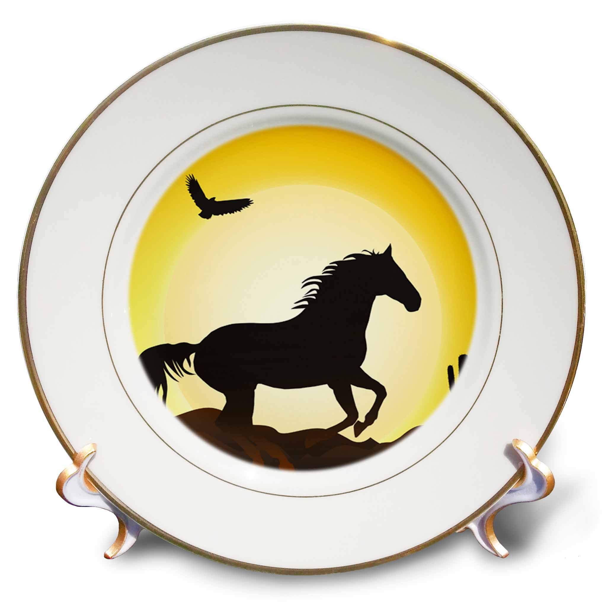 3dRose Sven Herkenrath Animal - Riding Horse with Bird and Sunset in The Background Freedom - 8 inch Porcelain Plate (cp_294925_1) by 3dRose