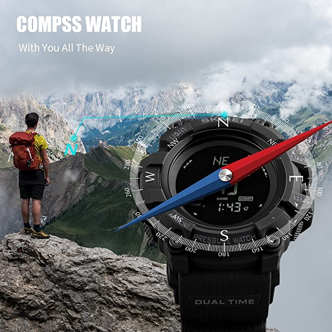 Reloj de brújula para Hombre, Reloj Deportivo Digital, podómetro, altímetro, barómetro, Temperatura Militar, Resistente al Agua, Reloj de Pulsera para ...