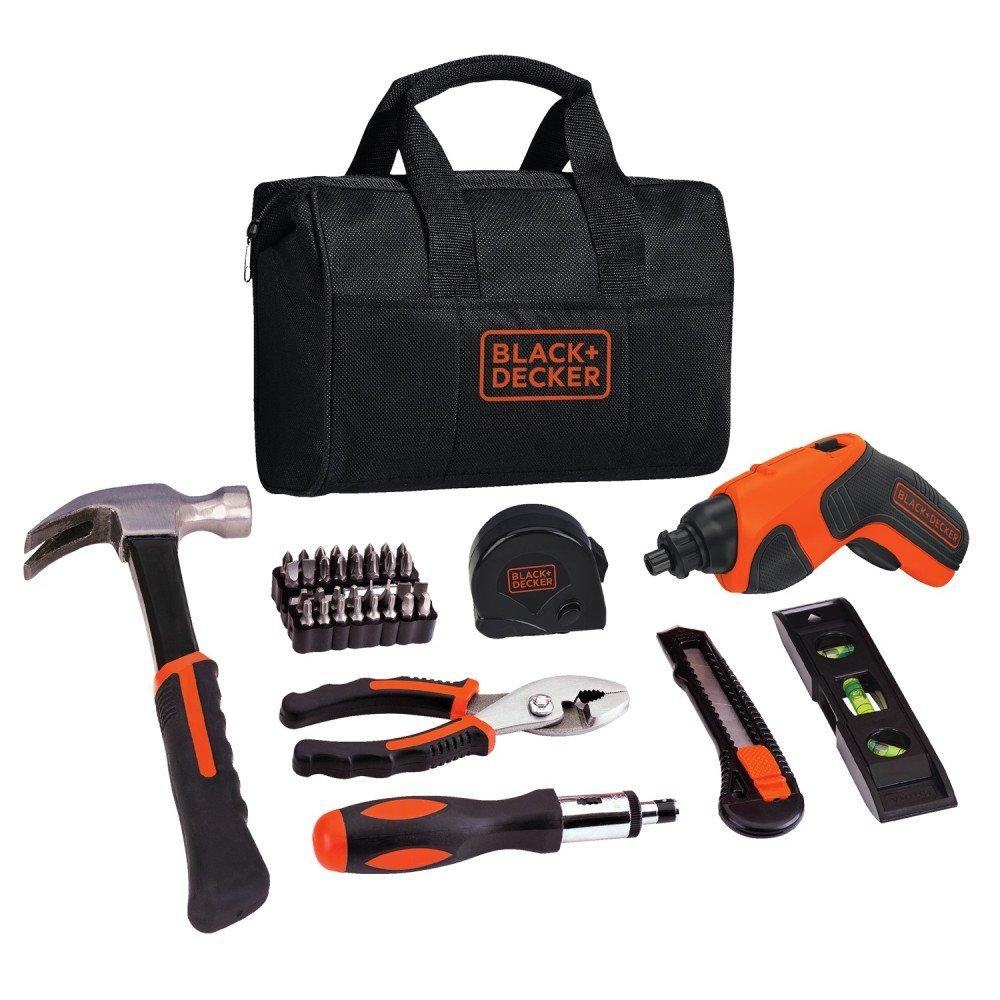 BLACK+DECKER 4V Cordless Screwdriver & Home Tool Kit, 42 Piece (BDCS20PK) by BLACK+DECKER