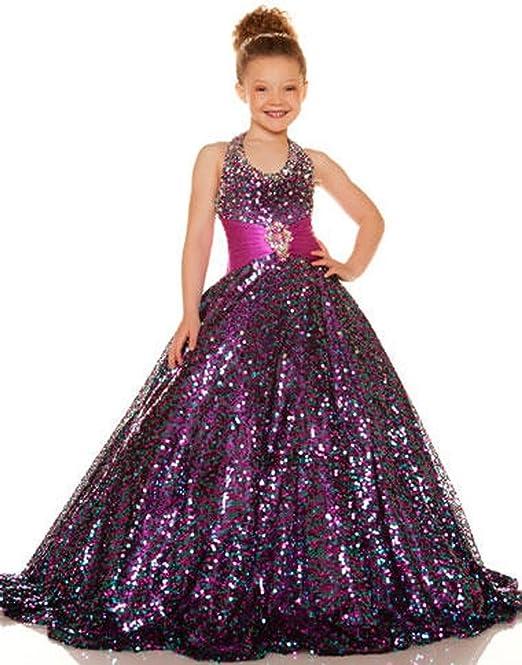 MengLu Girls\' Gold Sequlies Ritzee Flower Ball Gown Pageant Dresses ...