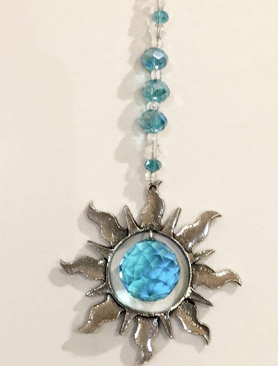 Rear View Mirror Turquoise Crystal Car Charm Sun Catchers, Pewter Sun Window Sun Catcher with Turquoise Crystals, Window Ornament, Turquoise Crystal Ball Prism Suncatcher,Feng Shui Rainbow Maker