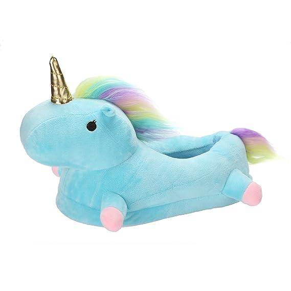 ShallGood Invierno Unicornio Felpa Suave Calentar Zapatillas de Estar Zapatos de Algodón Para Adulto Dormitorio Interior