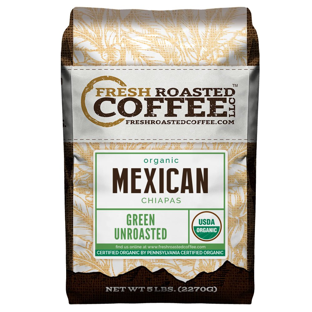 Fresh Roasted Coffee LLC, Green Unroasted Mexican Chiapas Coffee Beans, USDA Organic, 5 Pound Bag by FRESH ROASTED COFFEE LLC FRESHROASTEDCOFFEE.COM