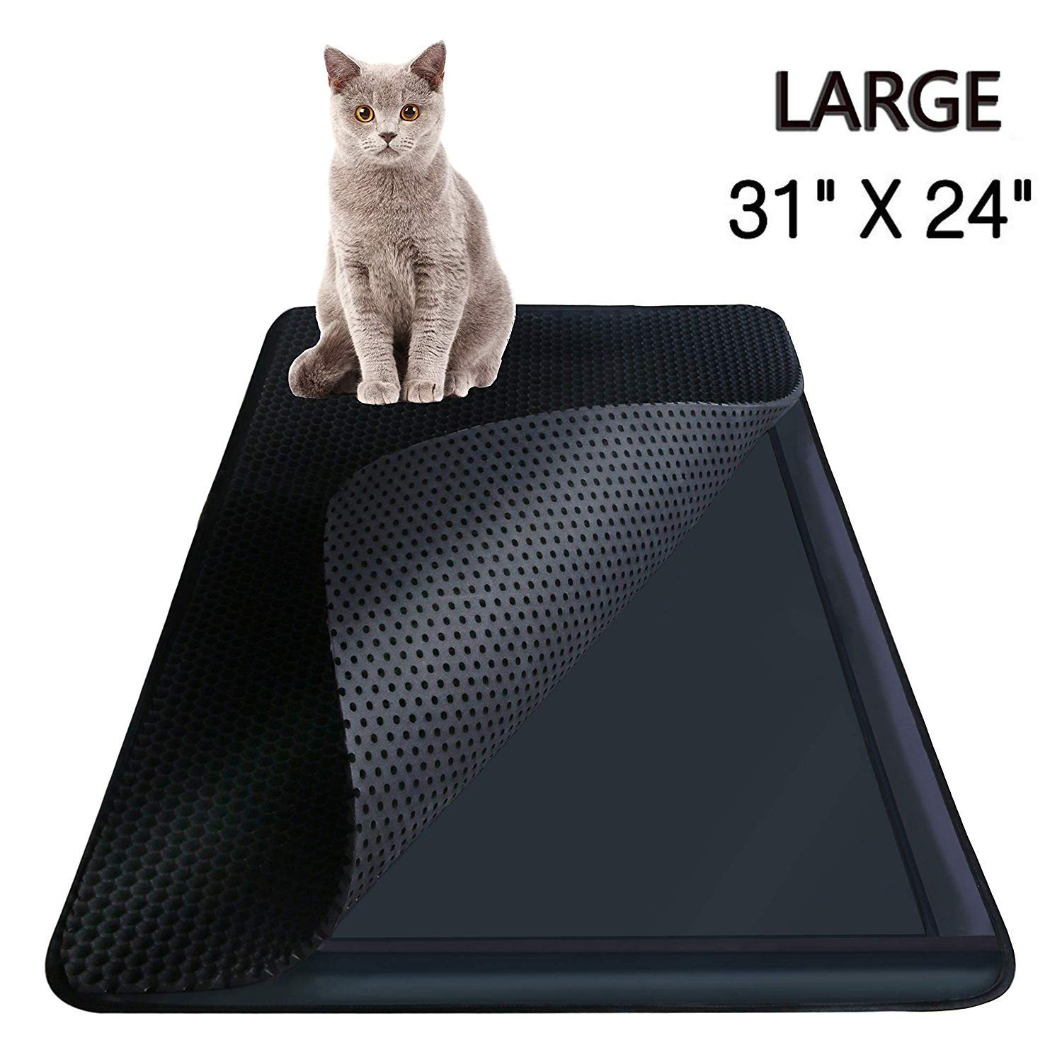 Limited Price Highland Farms Select Cat Litter Mat Cat Litter Box Trapper with EZ Clean Large Holes Waterproof Double Layer Cat Litter Mat Catcher, Large Size 31  X 24