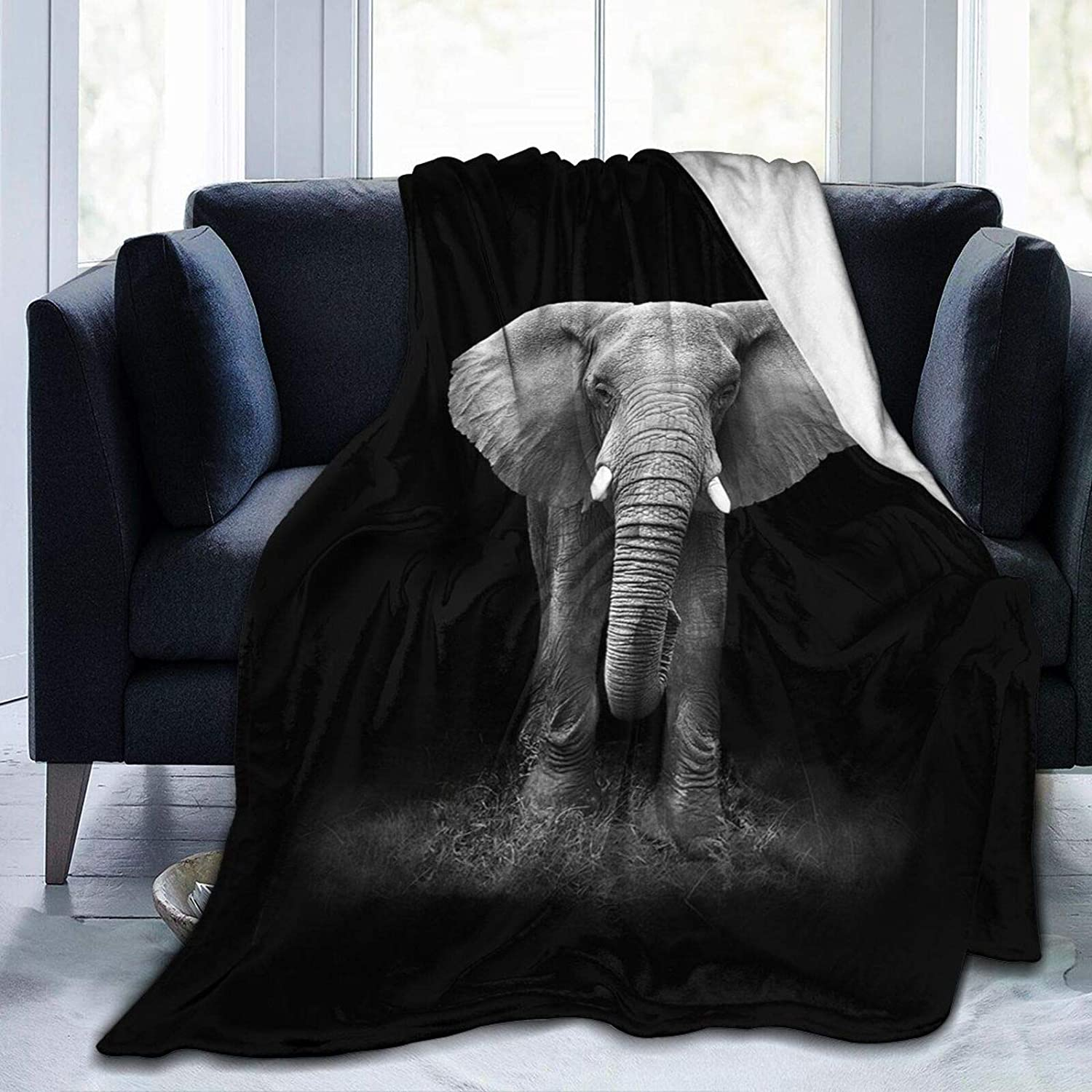 HANKCLES Elephant Throw Blanket Animal Bedding Blanket Super Soft Cozy Fleece Plush Reversible Blanket Size for Baby Adults Couch Sofa 40x50 Inch