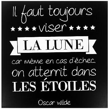 Promobo Tableau Toile Cadre Citation Oscar Wilde La Lune