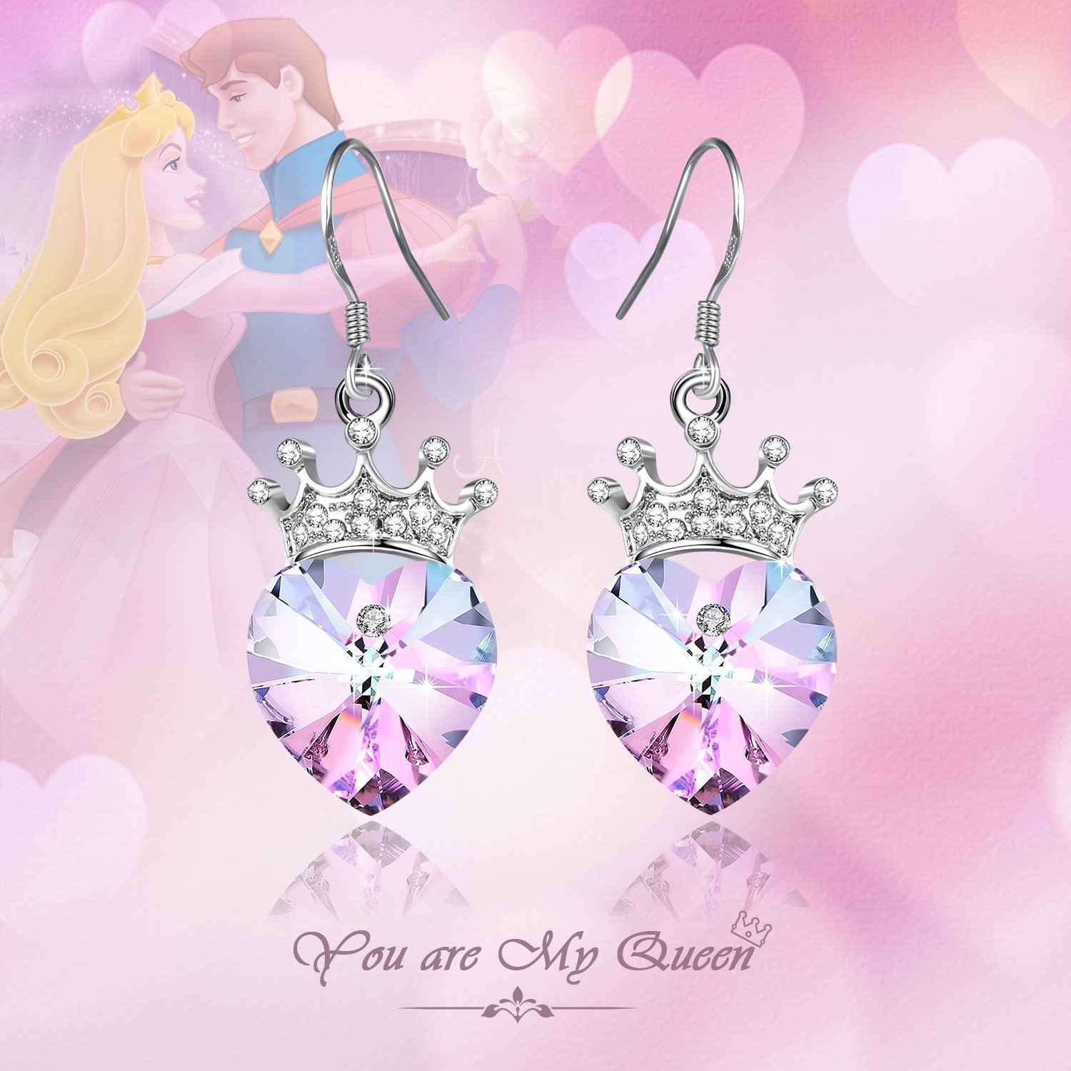 Angelady Purple Pink Crown Drop Earrings Jewelry with S925 Sterling Silver Hook,Crystal from Swarovski Girl Birthday Wedding Party Gift
