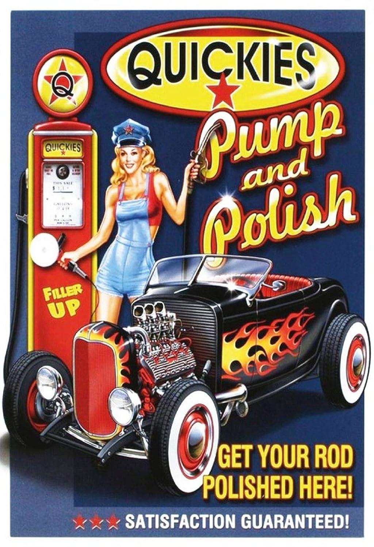 BlechschilderWelt Plaque en tôle Quickies Pump and Polish Pinup/pin up Garage Hot Rod