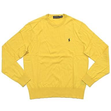 Polo Ralph Lauren Mens Lightweight Crew Neck Sweater (Small, Yellow)