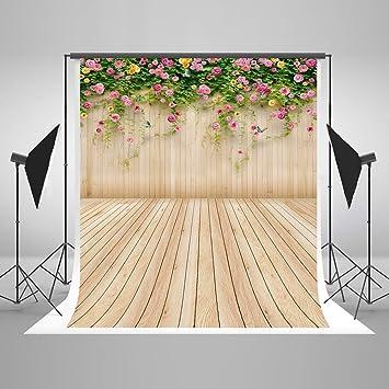 Kate foto telón de fondo pared de madera de boda algodón colorido flores fondo fotografía Props