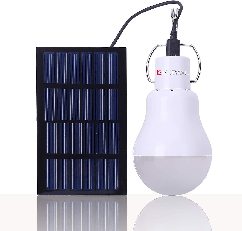 KK.BOL Lámpara Solar Portátil Bombilla LED Panel Solar Recargable Solar Led Luces Lámpara para Interiores Exteriores Luz de Emergencia Tienda de Campamento de Campamento Luz de Trabajo de la Noche
