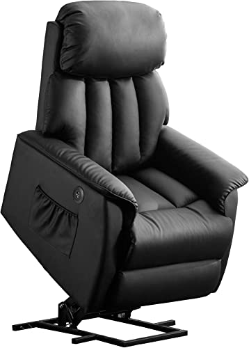 Mcombo Electric Power Lift Recliner Chair Sofa for Elderly, 3 Positions, 2 Side Pockets, USB Ports, Faux Leather 7299 Black-Faux Leather