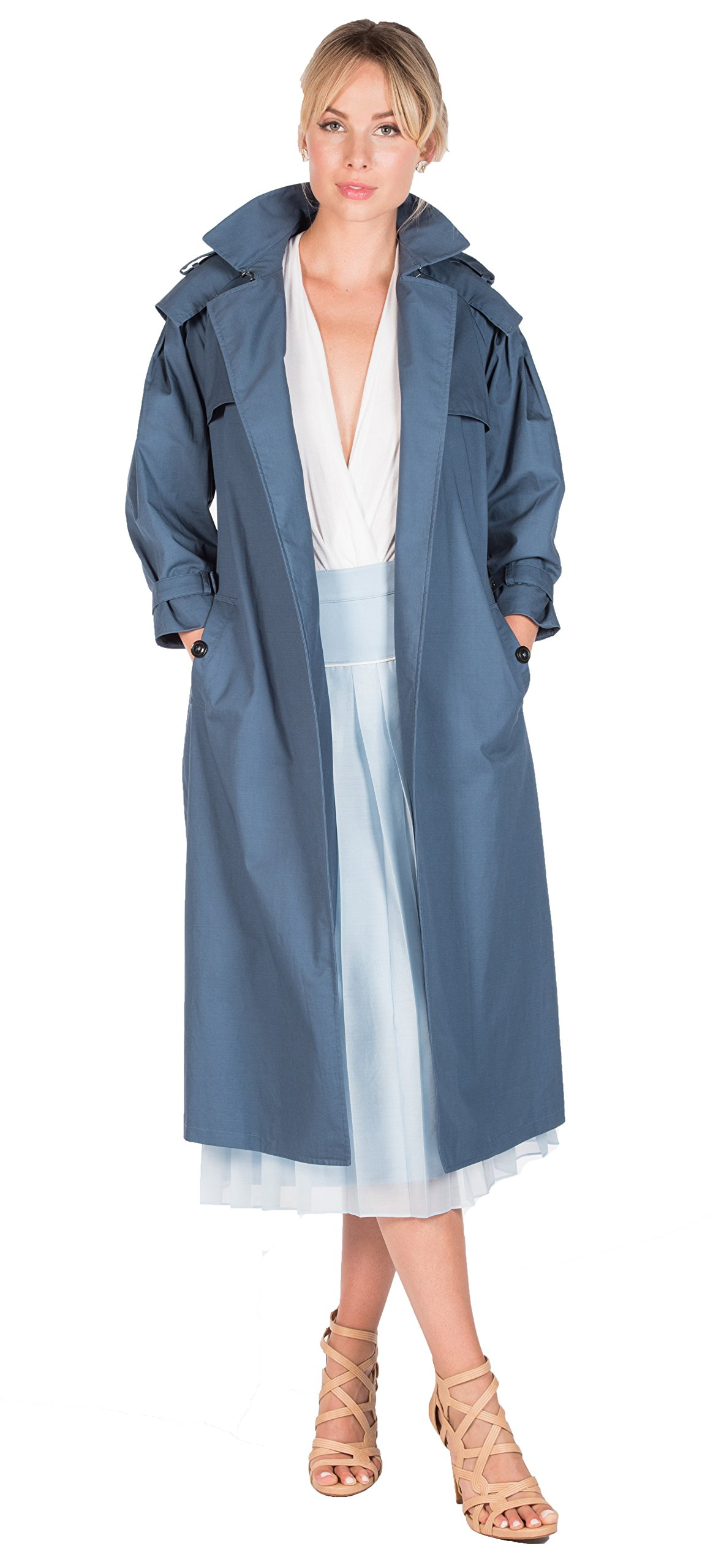 Marco Migliore The Migliore 100% Cotton Women's Trench Coat (Medium, Ash Blue) by Marco Migliore (Image #1)