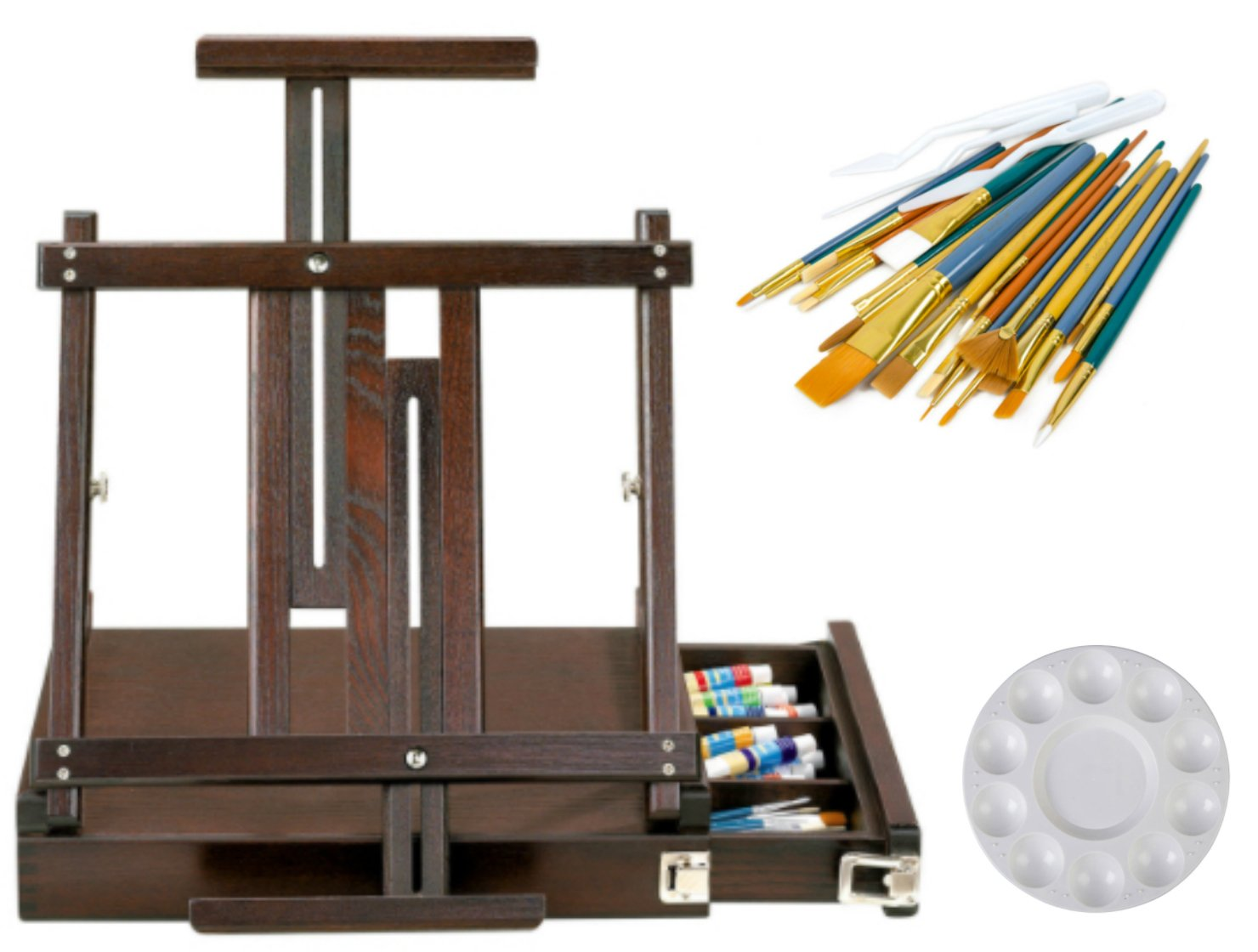 Artist's Loft Box Table Easel Art Set Plus 1 Plastic 10 Well Artist Palette and Package of 25 Assorted Brushes