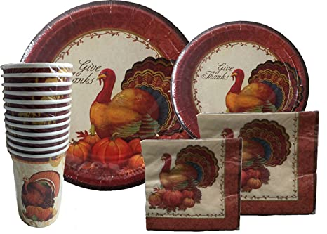 Thanksgiving Disposable Dinnerware Set for Your Holiday Party - Turkey Fall Harvest - Dinner Plates  sc 1 st  Amazon.com & Amazon.com: Thanksgiving Disposable Dinnerware Set for Your Holiday ...