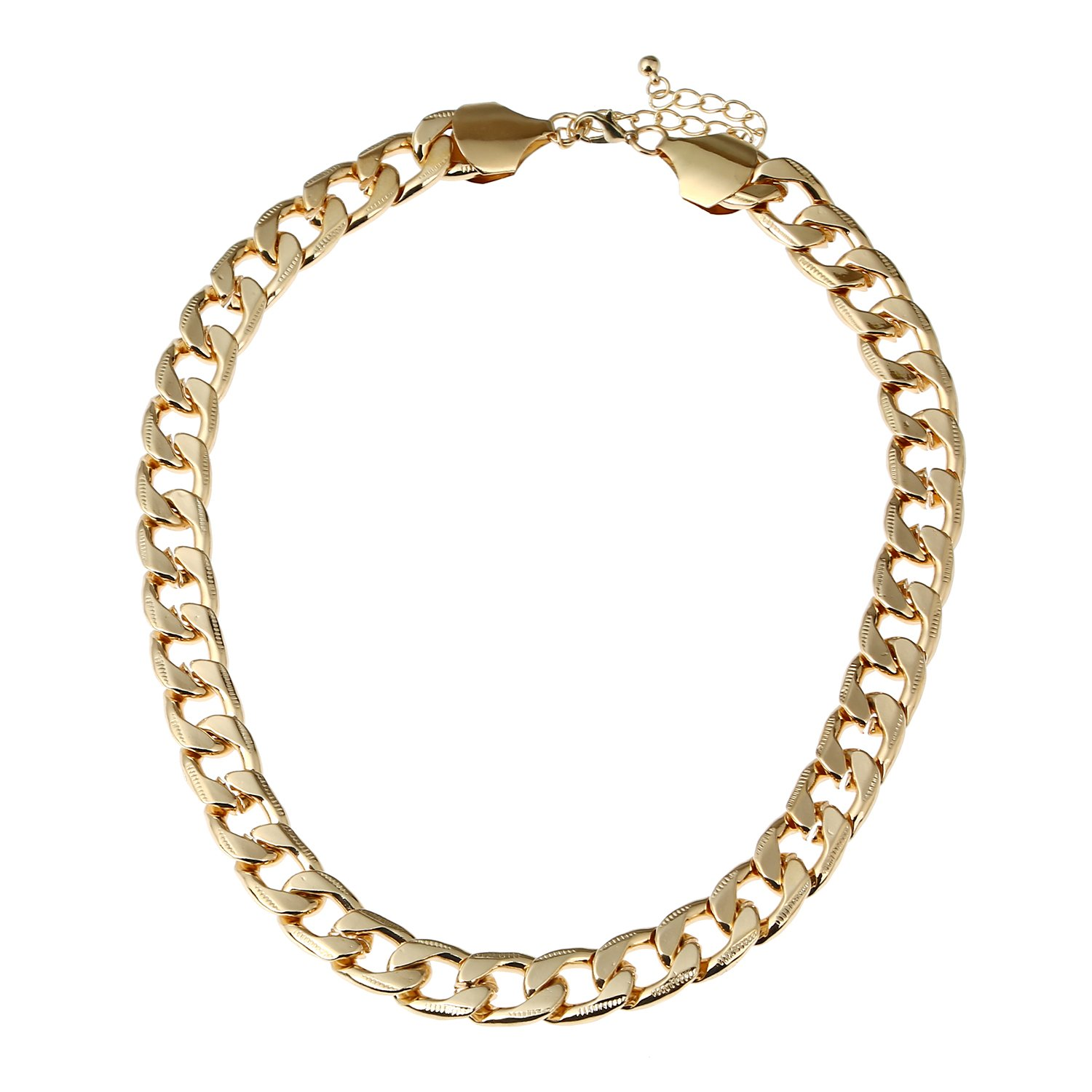 D EXCEED Gift Idea Gold Metal Figaro Cable Chain Choker Necklace Summer Jewelry for Women 18''