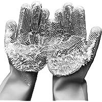Magic Saksak Dishwashing Cleaning Sponge Gloves,1 Pair Reusable Silicone Brush Scrubber Gloves Heat Resistant for Dish…