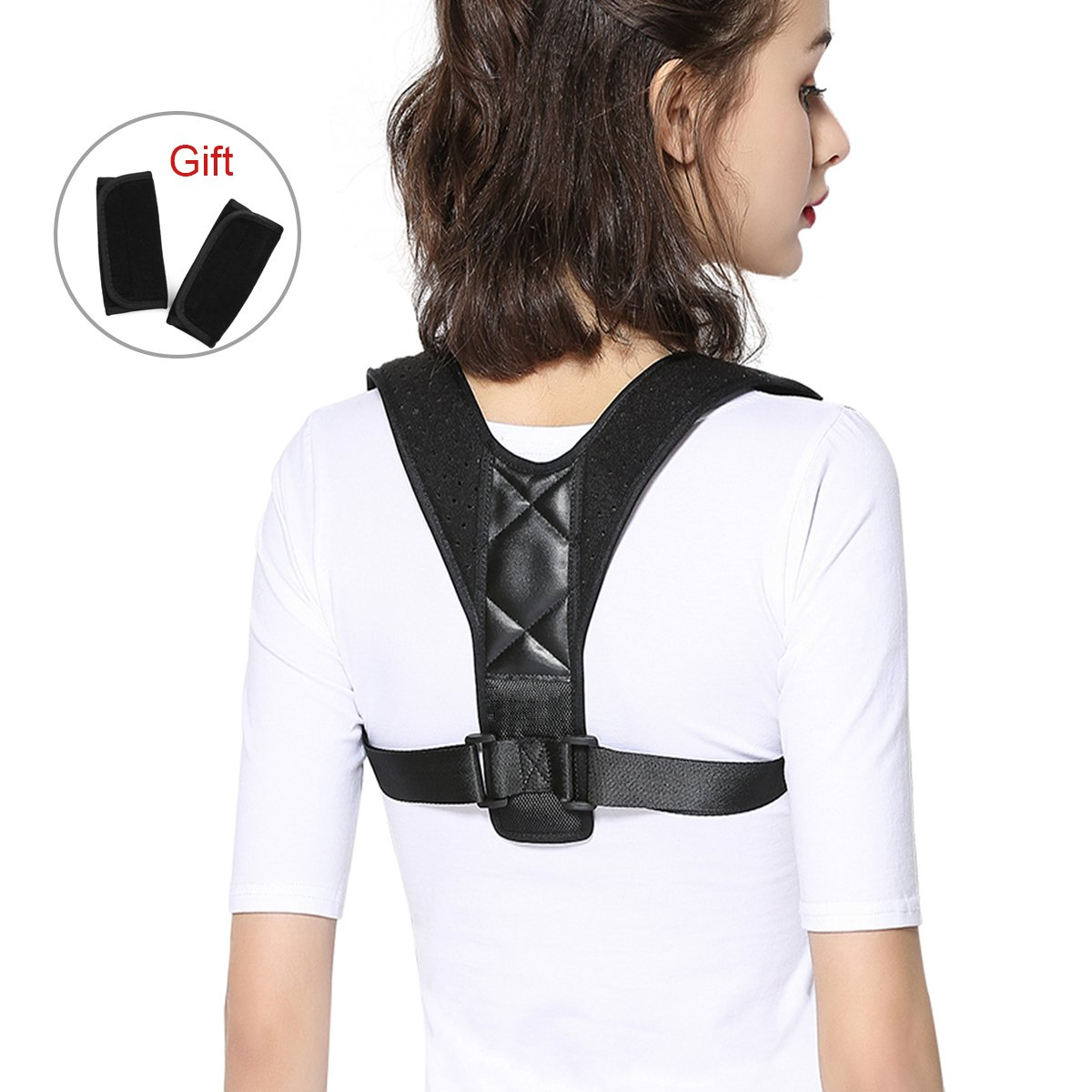 Upper Back Posture Corrector for Men and Women, Posture Corrector Adjustable Back Support Brace for Slouching & Hunching and Back Pain Relief, Elastic Comfortable Back Brace Shoulder Support with 2 Bo