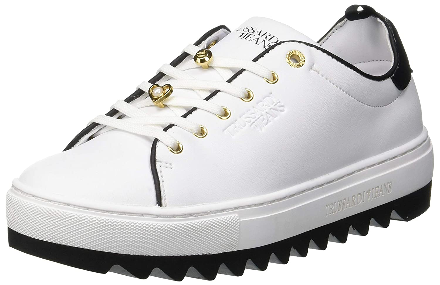 Trussardi Jeans Damen Turnschuhe Pins and Faux Pearls Gymnastikschuhe