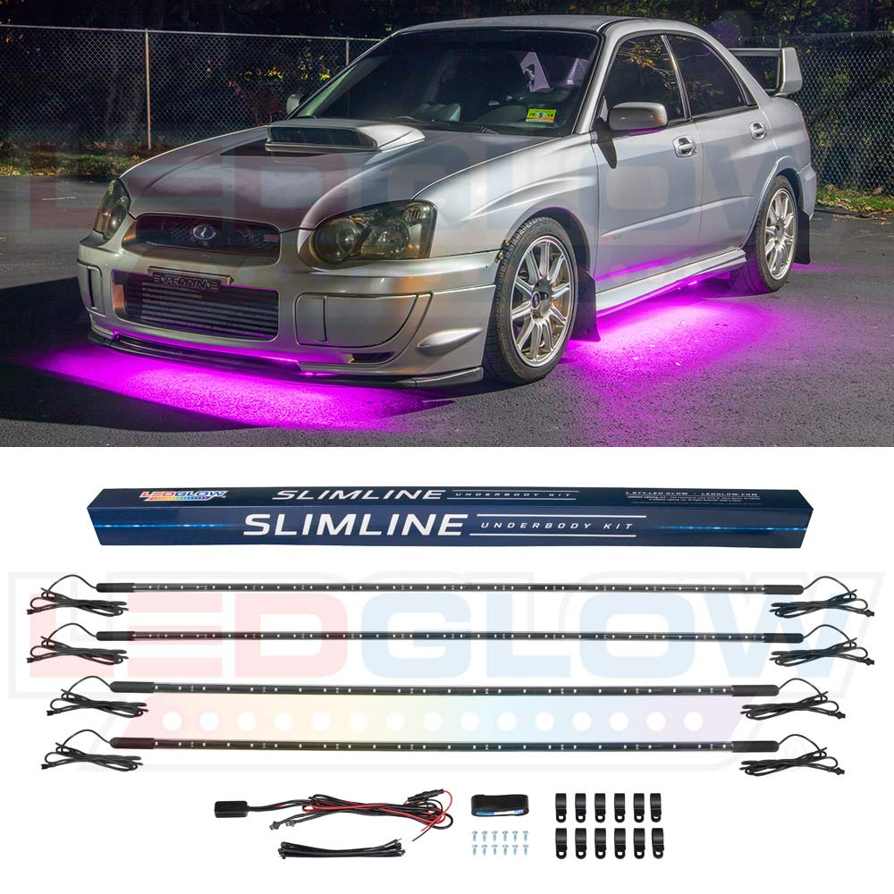 LEDGlow 4pc Pink Slimline LED Underbody Underglow Car Light Kit - Water Resistant - Wide Angle SMD LEDs LU-SL-PI