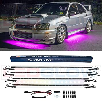 Led Lights For Cars >> Ledglow 4pc Pink Slimline Led Underbody Underglow Accent Neon Lighting Kit For Cars Solid Color Illumination Water Resistant Low Profile Tubes