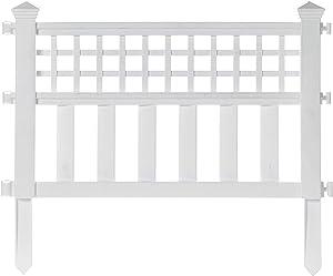 Gardenised QI003741.WL Garden Gate Patio Picket Fence Flower Bed Border White Vinyl Edging