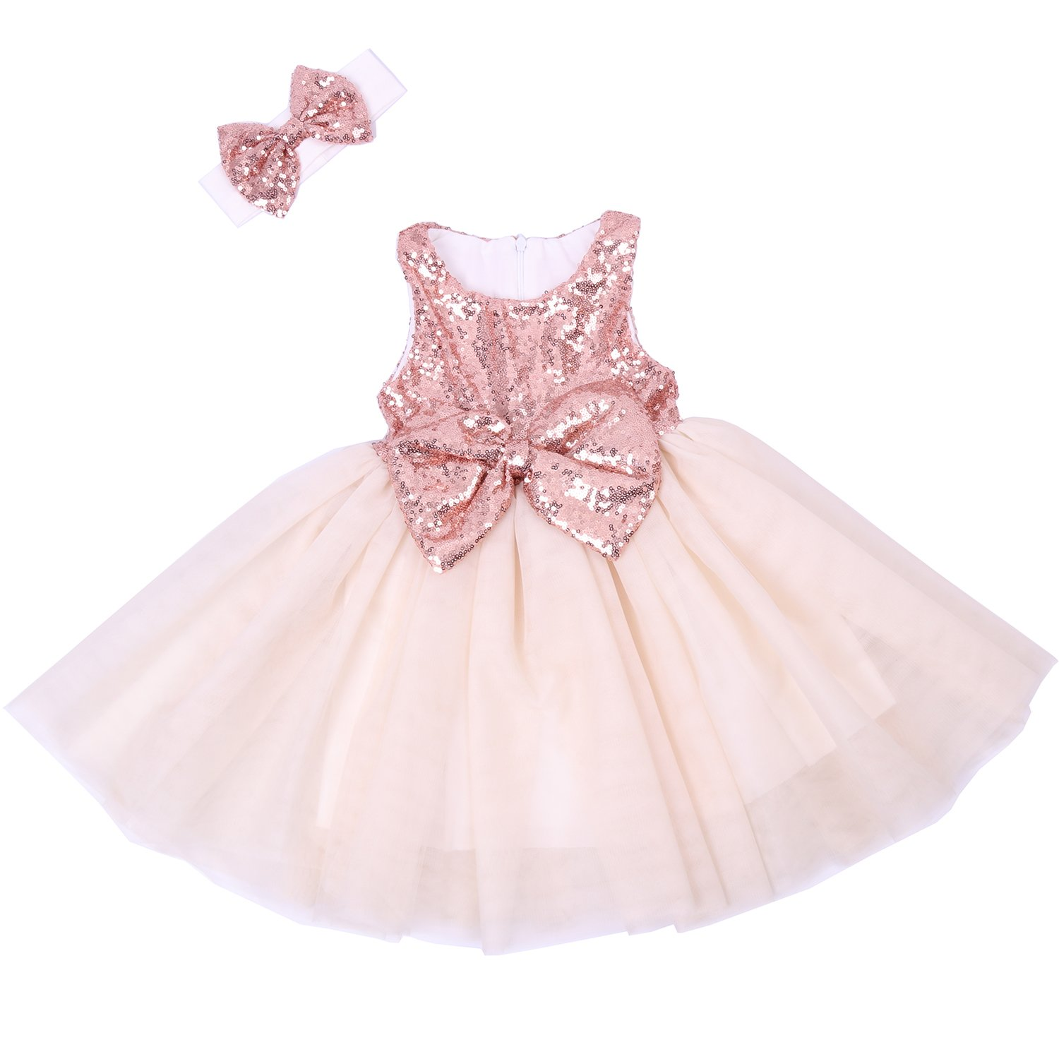 Cilucu Flower Girl Dresses Toddlers Sequin Party Dress Tutu Baby Prom Pageant Dresses Gown Kids Sleeveless Rose Gold/Offwhite 2T-3T