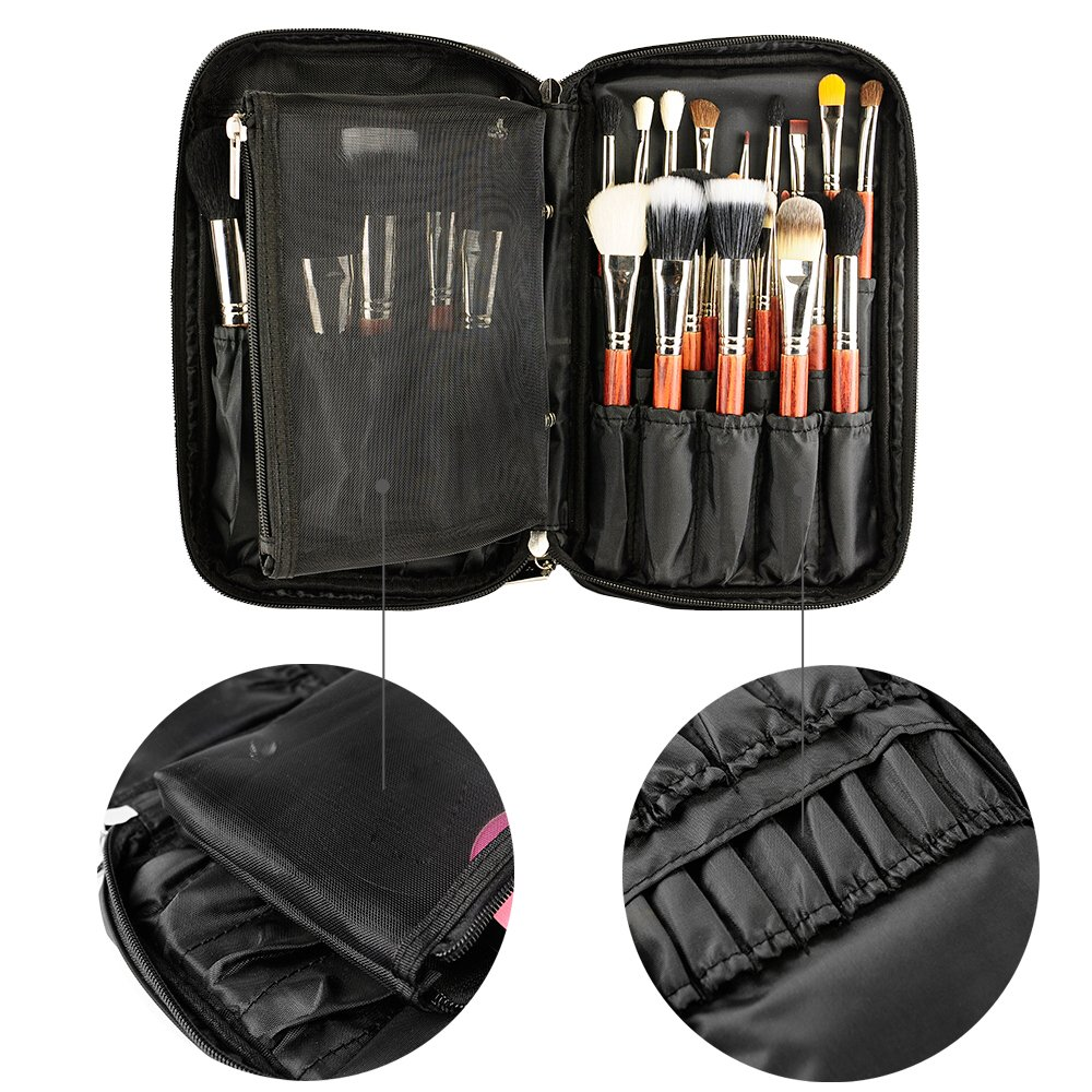 Professional Cosmetic Case Makeup Brush Organizer Makeup Artist Case with Belt Strap Holder Multi functional Cosmetic Bag Makeup Handbag for Travel & Home Gift (Black) by Relavel (Image #5)