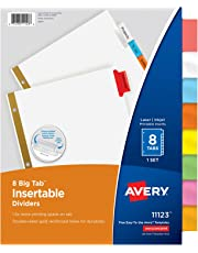 Avery Worksaver Big Tab Dividers, Multicolor Tabs, Eight-Tab, Letter, White (11123)